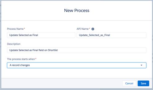 New Process screen 1